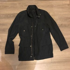 H&M Navy rain jacket with packable hood size 36R.